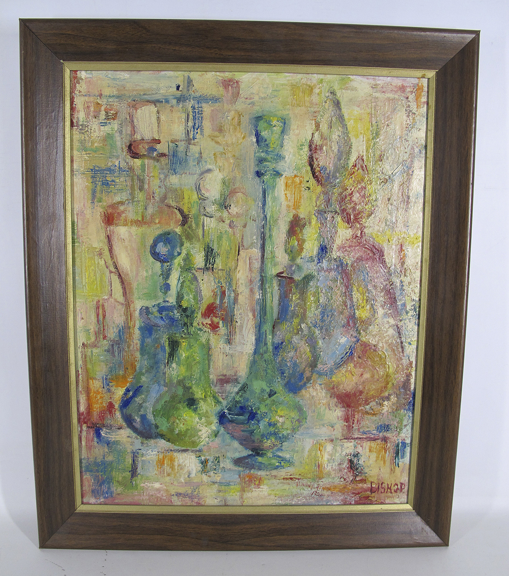 Mid Century Modern Abstract Oil Painting Blenko Husted